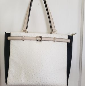 Kate Spade Black and White Ostrich Leather Tote